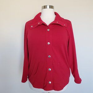 Style & Co Sport Red Snap Front Jacket Plus Sz 3X